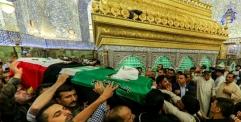 تشييع مهيب لقائد فرقة الإمام علي القتالية في رحاب مرقد أمير المؤمنين (عليه السلام)